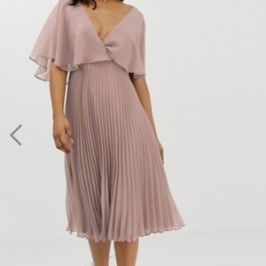 Asos Flutter-Sleeve Midi Dress with Pleat Skirt